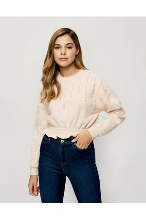 Miss Selfridge Women Sweatshirts - Pearl detail sweatshirt in