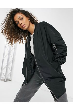 Only Longline bomber jacket with ruched sleeves in