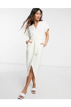 Closet Women Midi Dresses - Kimono wrap midi dress in ivory-Cream