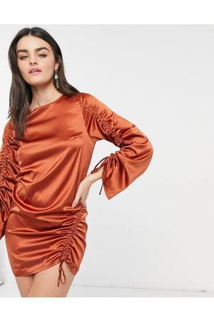 ASOS Long sleeve ruched shift satin mini dress in rust