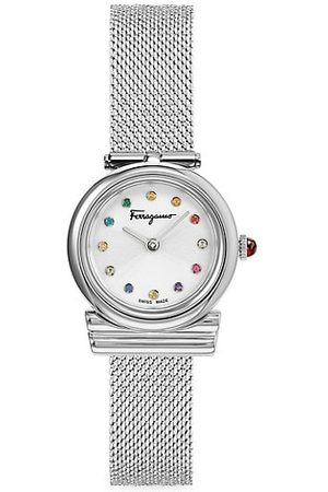 Salvatore Ferragamo Gancini Stones Silvertone Stainless Steel Mesh Watch