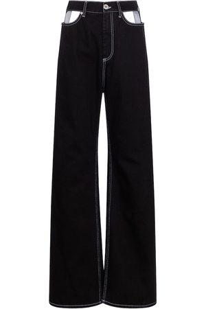 Maison Margiela Women High Waisted - Cutout high-rise wide-leg jeans