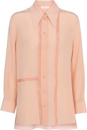 Chloé Women Blouses - Lace-trimmed silk blouse