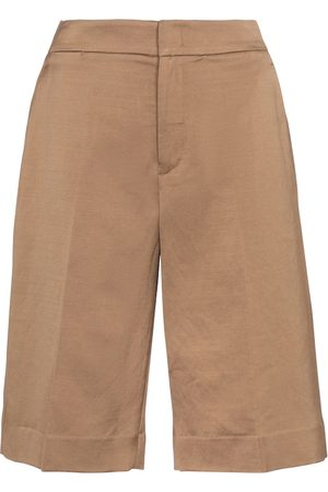 Vince Women Bermudas - Linen and cotton-blend Bermuda shorts