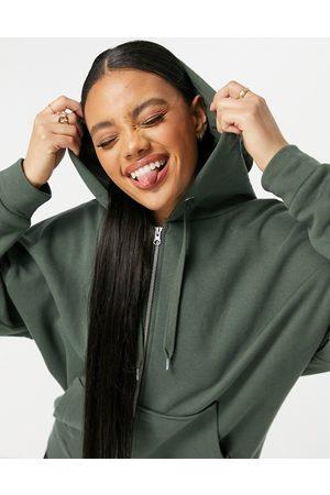 ASOS Super oversized zip through hoodie in khaki