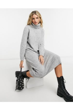 Only Knitted midi jumper dress with roll neck in