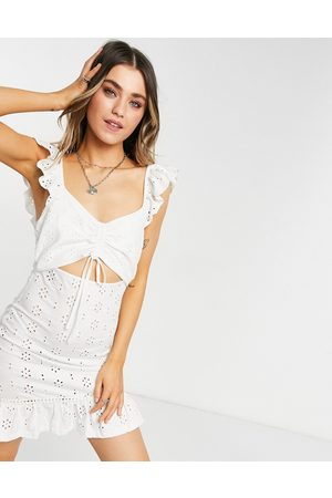 ASOS Broderie mini sundress with cut out and frill straps in
