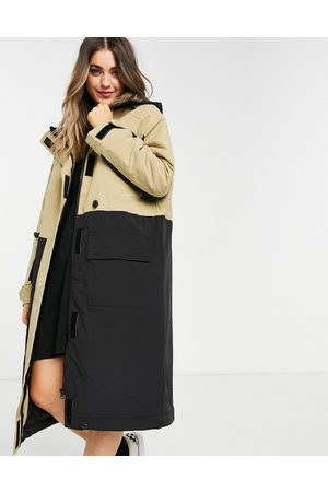 ASOS Longline parka coat with panel detail in stone