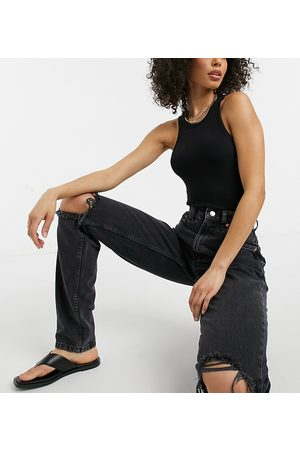 ASOS Tall ASOS DESIGN Tall high rise 'Slouchy' mom jeans in washed with rips