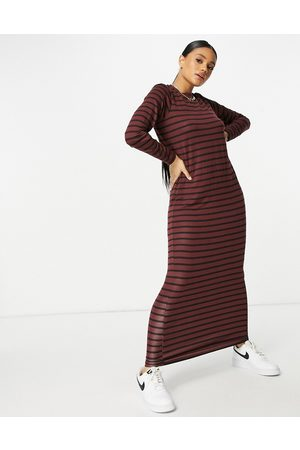 ASOS Long sleeve maxi t-shirt dress in chocolate and stripe