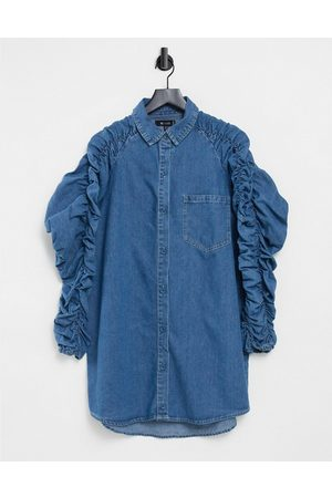 Missguided Denim shirt dress with ruched sleeve in