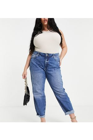 River Island Carrie comfort sculpt raw hem mom jeans mid auth