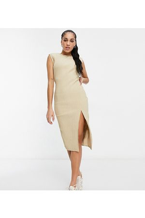 Missguided Cord midaxi dress with side split in