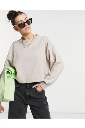 Aligne Organic cotton cropped sweatshirt in mushroom