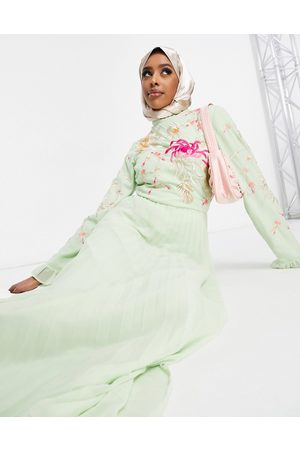 ASOS Embroidered pleated maxi dress with fluted sleeve in sage
