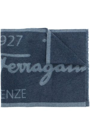 Salvatore Ferragamo Men Scarves - Two-tone logo wool scarf