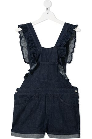 Dondup Ruffled denim dungaree-shorts