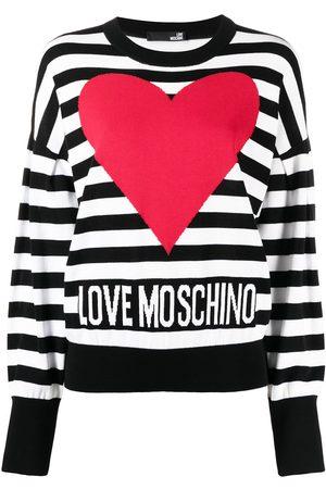 Love Moschino Striped logo-intarsia cotton jumper