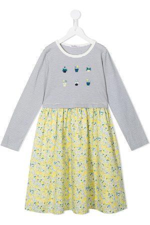 Familiar Floral-print striped appliqué dress