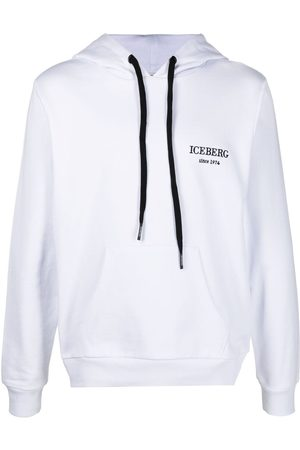 Iceberg Men Sweatshirts - Logo-embroidered cotton hoodie