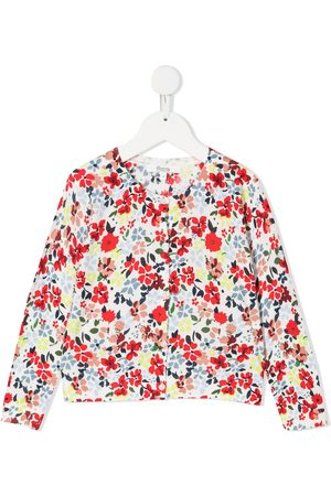 BONPOINT Girls Cardigans - Floral-print buttoned cardigan