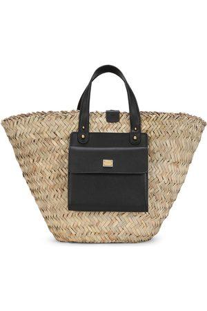 Dolce & Gabbana Leather-trim straw tote