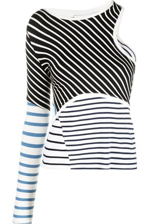 Marine Serre Women Long Sleeve - Stripe-print cut-out jersey