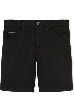 Dolce & Gabbana Boys Shorts - Logo-patch poplin shorts