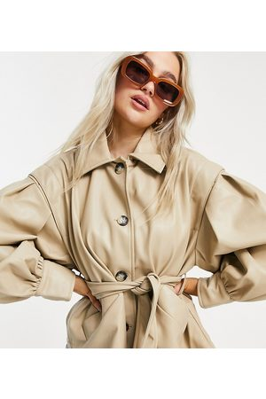 ASOS Women Leather Jackets - ASOS DESIGN Petite faux leather jacket with sleeve drama in putty