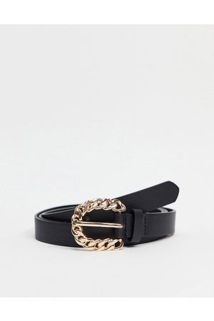 My Accessories Curve Women Belts - My Accessories London Curve waist and hip jeans belt in with chain buckle