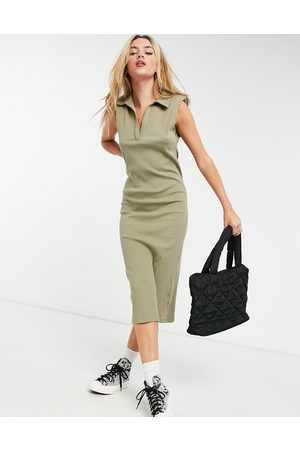 ASOS Women Casual Dresses - Ribbed midi dress with collar and shoulder pads in khaki