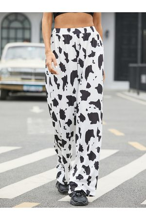 YOINS Cow Print Stretch Waistband Pants