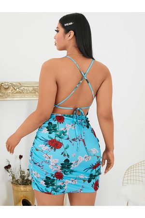 YOINS Plus Size Floral Print Spaghetti Strap Criss-cross Sleeveless Mini Dress