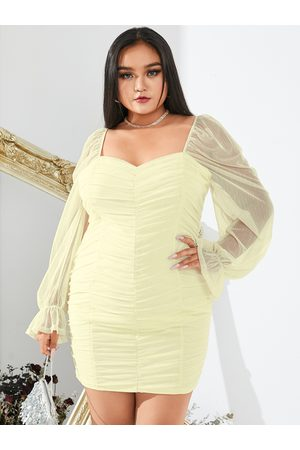 YOINS Plus Size Pleated Design Long Sleeves Mini Dress
