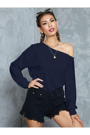 YOINS BASICS Navy Plain One Shoulder Long Sleeves Sweatshirt