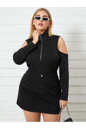 YOINS Plus Size Cold Shoulder Zip Design Long Sleeves Tee