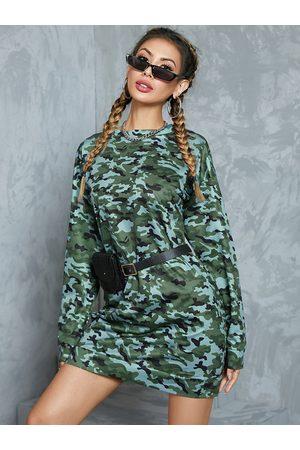 YOINS Camo Round Neck Long Sleeves Sweatshirt Dress
