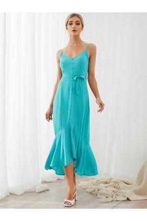YOINS Belt design Button Front Sleeveless Maxi Dress