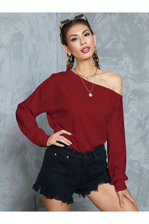 YOINS Burgundy One Shoulder Long Sleeves Sweatshirt