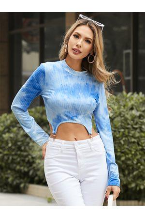 YOINS Tie Dye Mock Neck Irregular Hem Long sleeves Crop Top