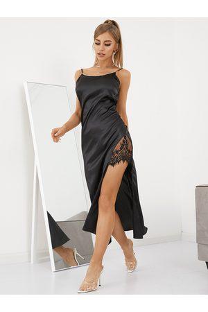 YOINS Lace Patchwork Rhinestone Decor Round Neck Sleeveless Midi Dress