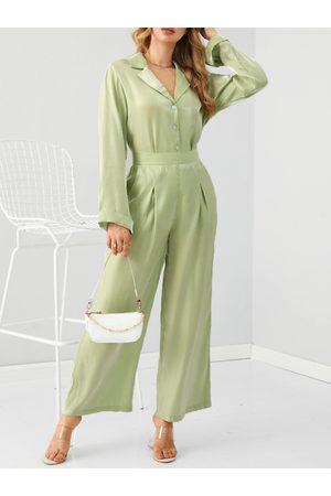 YOINS Glitter Button Design Lapel Collar Long Sleeves Top & Pants Set