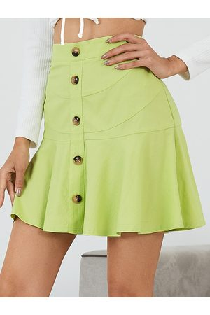 YOINS Button Front Ruffle Hem Mini Skirt
