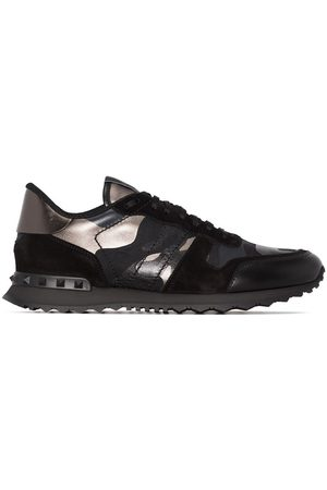 VALENTINO GARAVANI Men Sneakers - Rockrunner metallic camouflage-print sneakers