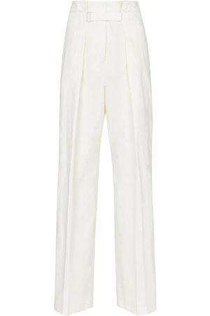 Jil Sander Women Wide Leg Pants - High-rise wide-leg cotton-blend pants