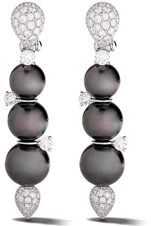 Yoko London Women Earrings - 18kt white gold Twilight Tahitian pearl and diamond earrings
