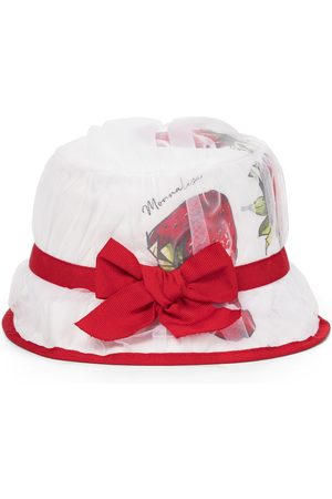 MONNALISA Girls Hats - Strawberry cotton poplin hat