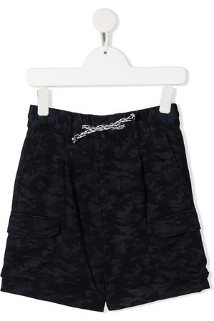 Emporio Armani Boys Shorts - Camouflage-print drawstring-fastening shorts