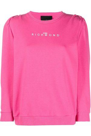 John Richmond Women Sweatshirts - Puff-sleeve logo-print sweatshirt