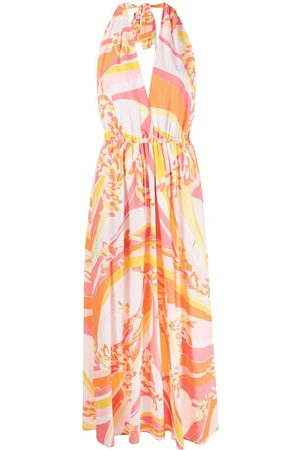 Emilio Pucci Women Printed Dresses - Lily print halterneck dress